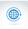 Blue globe with rotation and circulation icon vector image vector image