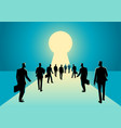 businessmen walking into keyhole with bright light vector image