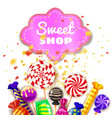 candy sweet shop background set of different vector image vector image