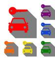 car key simplistic sign set of red orange vector image
