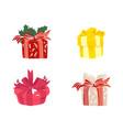 cartoon present gift box ribbon bow set vector image vector image