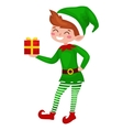 Christmas elf isolated with gifts in box in a vector image