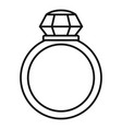 crystal gemstone ring icon outline style vector image