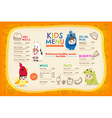 Cute colorful kids meal menu placemat vector image vector image