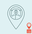 electric car with map pin icon vector image vector image