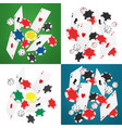falling realistic casino cards chips and aces vector image vector image