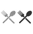 fork and spoon composition of binary digits vector image vector image