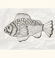 funky fish on crumpled paper texture vector image vector image