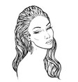 girl with streaming wavy hair lineart vector image