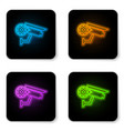 glowing neon security camera and gear icon vector image vector image