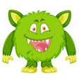 green monster character on white background vector image