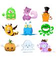 halloween monsters pack vector image