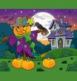halloween scarecrow theme image 4 vector image vector image