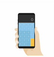 hand holding phone with calculator app vector image vector image