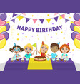 happy birthday banner template cute boys and vector image vector image