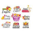 happy easter isolated greeting icons eggs vector image vector image