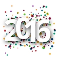 Happy new Year 2016 celebration with confetti vector image
