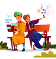 indian couple dating with smartphones vector image