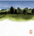 ink wash painting with green forest and cloudy sky vector image vector image