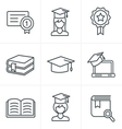 Line Icons Style Education icons set vector image vector image