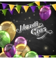 Mardi Gras label with festive flags and balloons vector image vector image