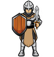 medieval soldier on white vector image vector image