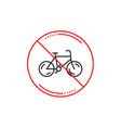 no or stop sign bicycle transport line icon bike vector image vector image