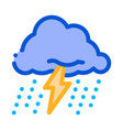 rain lightning icon outline vector image