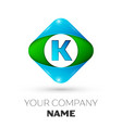 realistic letter k logo in colorful rhombus vector image vector image