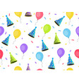 seamless pattern with balloons and caps confetti vector image vector image