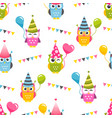 seamless pattern with owls with birthday party vector image vector image