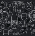 seamless patterns with white wine set cask vector image