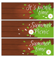 Set of banners with wooden desk with grass and vector image vector image