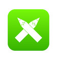 two crossed pencils icon digital green vector image vector image