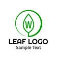 w leaf logo symbol icon sign vector image