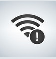 wifi connection signal icon with exclamation mark vector image vector image