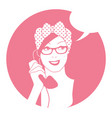 woman on the vintage phone and blank speech vector image vector image