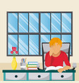 young man studying at home vector image