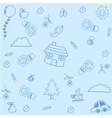 House doodle art with blue backgrounds vector image