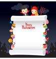 Kids in Halloween Costume with Dessert on Banner vector image