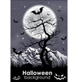 Halloween background with foll Moon and lifeless vector image