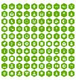 100 religious festival icons hexagon green vector image vector image