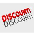 3d discount text design vector image vector image