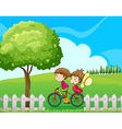 A boy biking with his girlfriend vector image vector image
