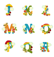 alphabet rainbow from J to R vector image vector image