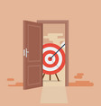 big target behind opened door vector image vector image