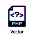 black php file document icon download php button vector image vector image