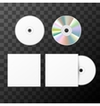 Blank white compact disk from two sides and cover vector image