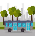 bus street tree city transport vector image
