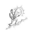 business man sketch hold light bulb climb upstairs vector image